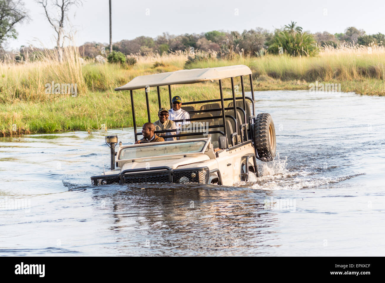 Safari jeep with driver and tourists laughing and having fun, fording a deep river in the Okavango Delta, Botswana - Stock Image
