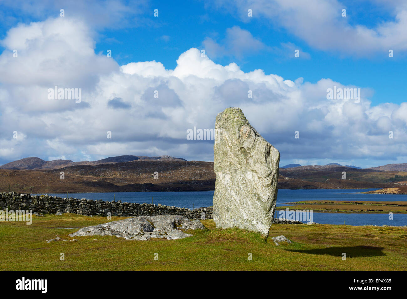 One of the Callanish Stones, Isle of Lewis, Outer Hebrides, Scotland UK - Stock Image
