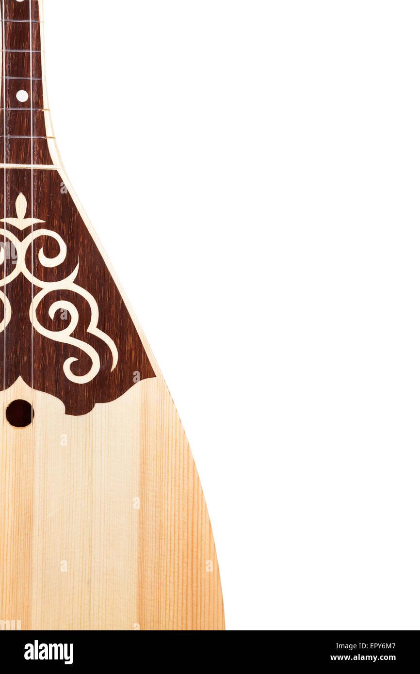 Dombra Kazakh instrument isolated on white background - Stock Image