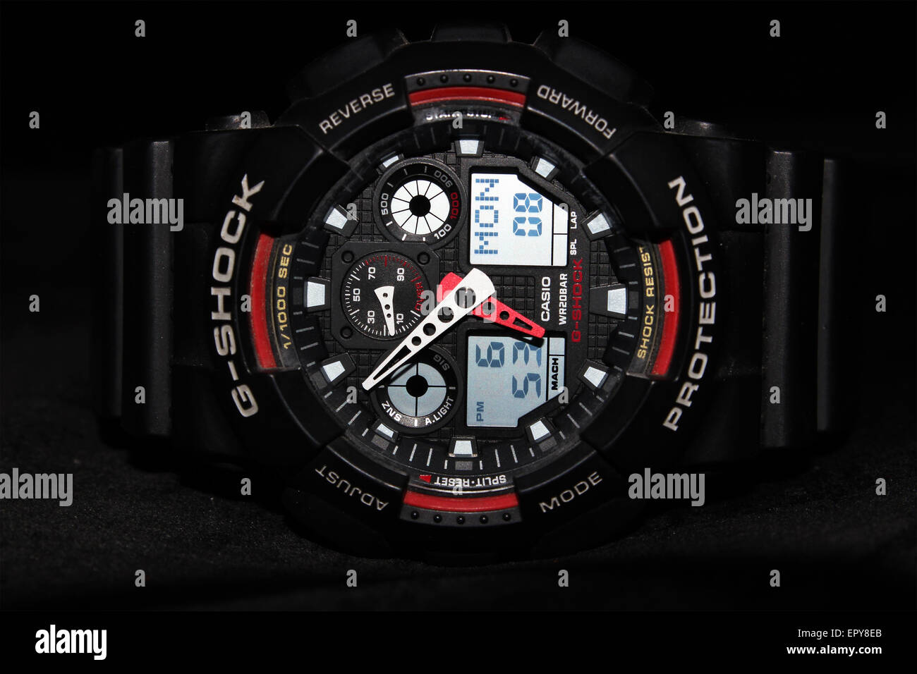 black, G-stock, sports, bezel, chronograph, close, face, glass, hands, nobody, object, seiko, sports, up, watch, - Stock Image