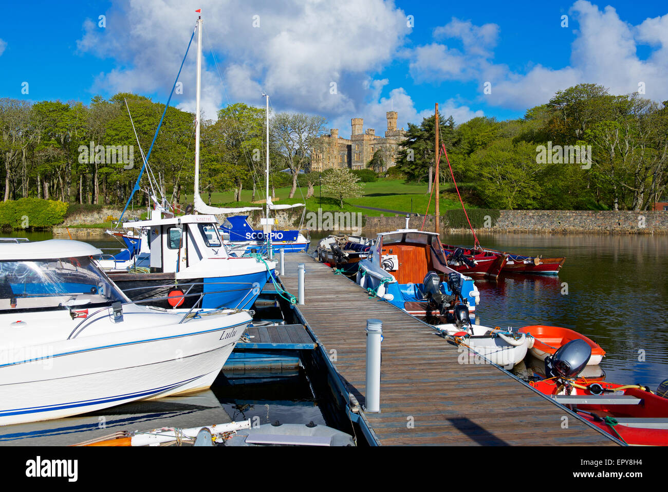 Lewis Castle and the marina, Stornoway, Isle of Lewis, Outer Hebrides, Scotland UK - Stock Image