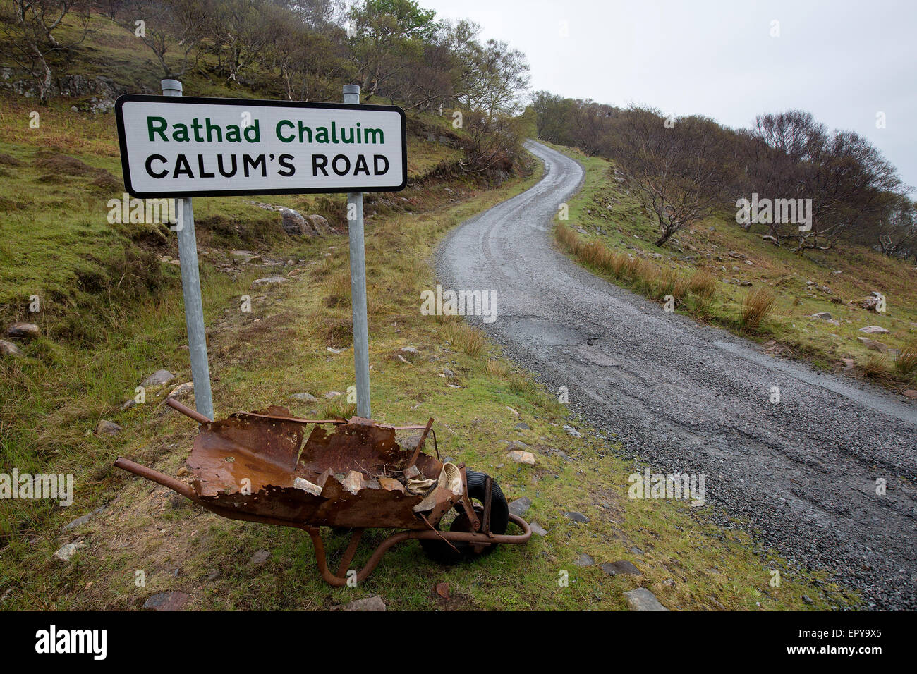 Calum's Road on the Isle of Raasay in the Inner Hebrides built by Calum MacLeod and his brother Charles. - Stock Image
