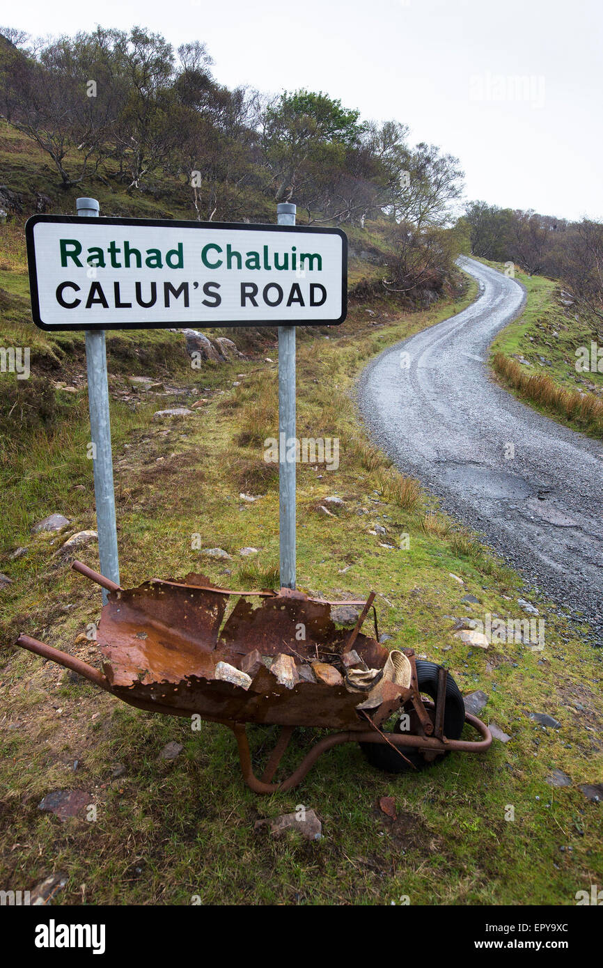 Calum's Road on the Isle of Raasay in the Inner Hebrides built by Calum MacLeod and his brother Charles - Stock Image