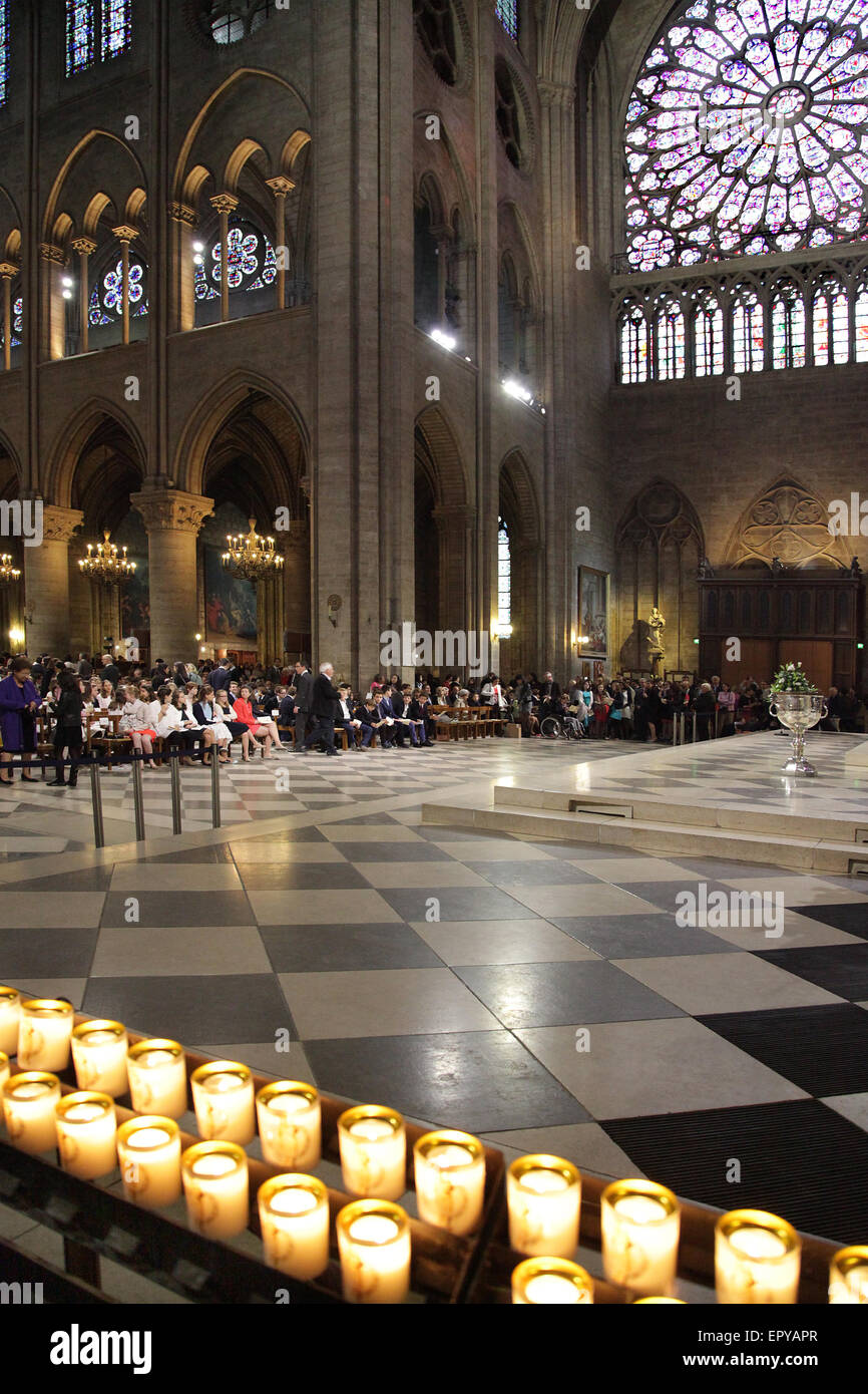 Candles Candlelight at  Notre-Dame Cathédrale Paris France - Stock Image