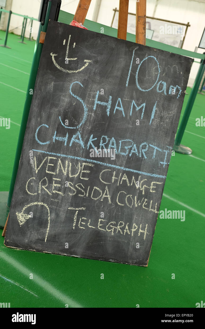 Hay Festival, Powys, Wales - May 2015 -  Event session schedule board for  Shami Chakrabarti on stage at 10am at - Stock Image