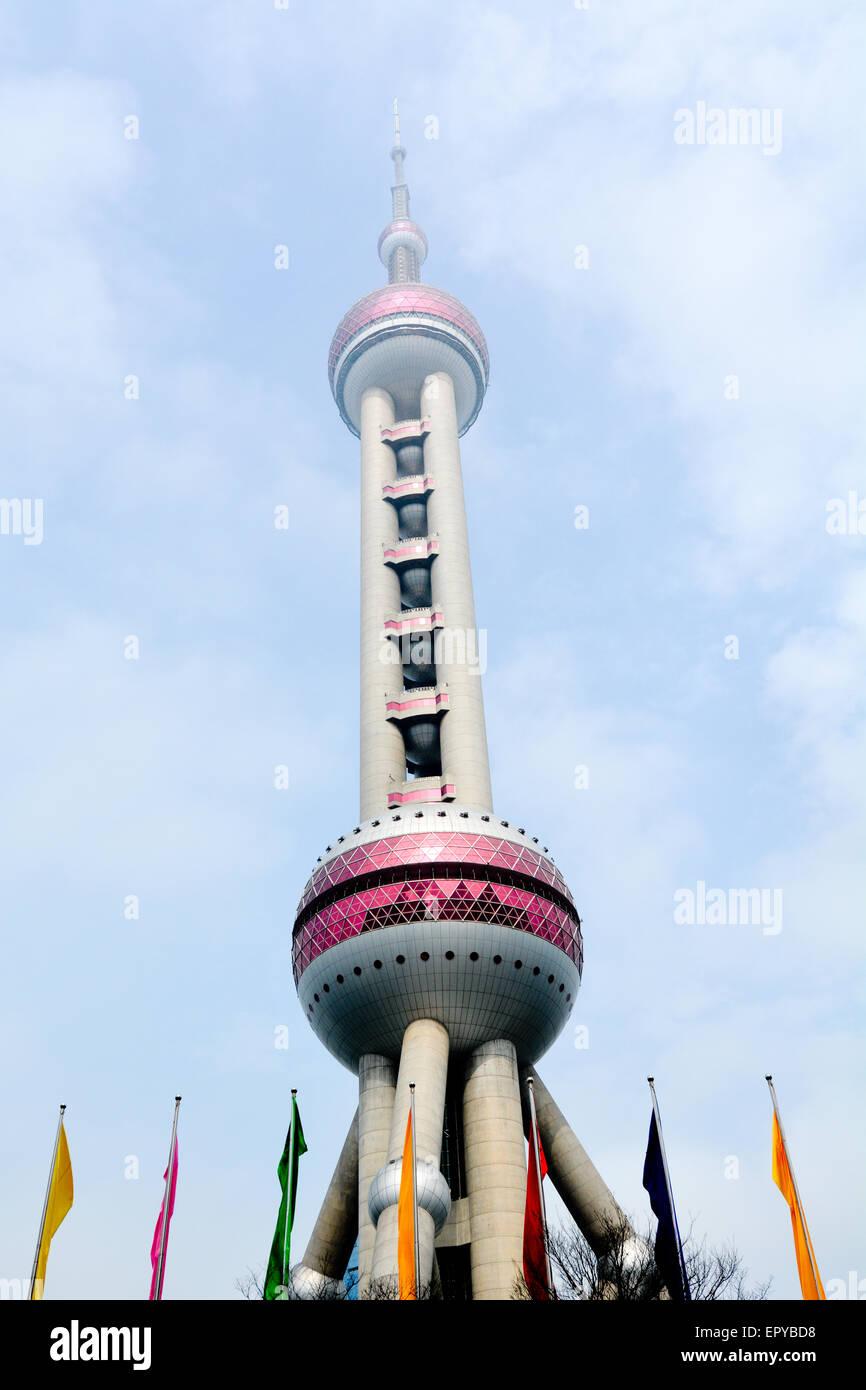 SHANGHAI, CN - MAR 15 2015:Shanghai Oriental Pearl TV Tower in Shanghai, China. It's a famous landmark in Shanghai - Stock Image