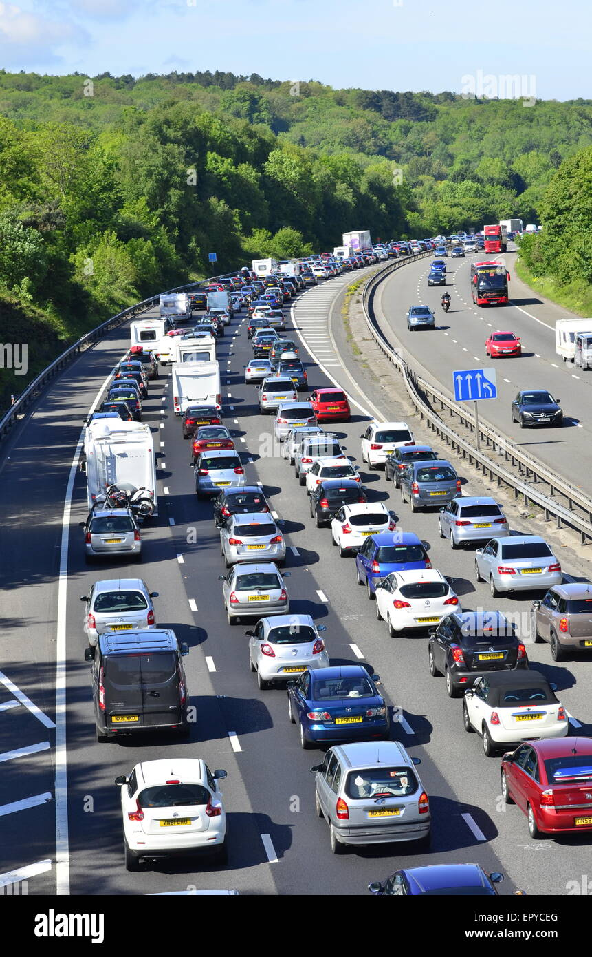 M5 Southbound towards Devon and Cornwall and Taunton completely stopped at Gordano Services. South of Bristol Motorway Bank Holiday get away traffic at a ...