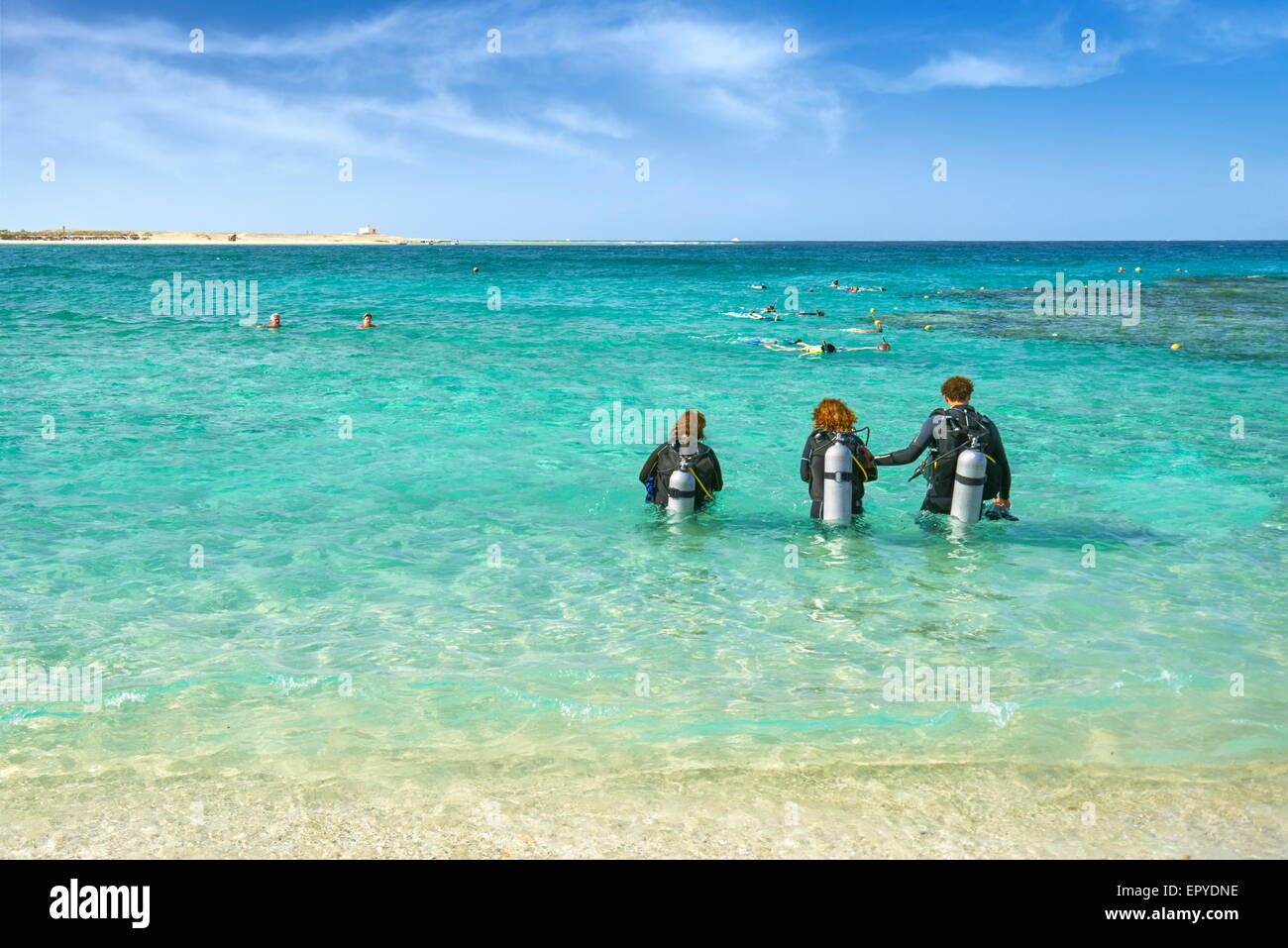 Marsa Alam, divers in Abu Dabbab Bay,  Red Sea, Egypt - Stock Image