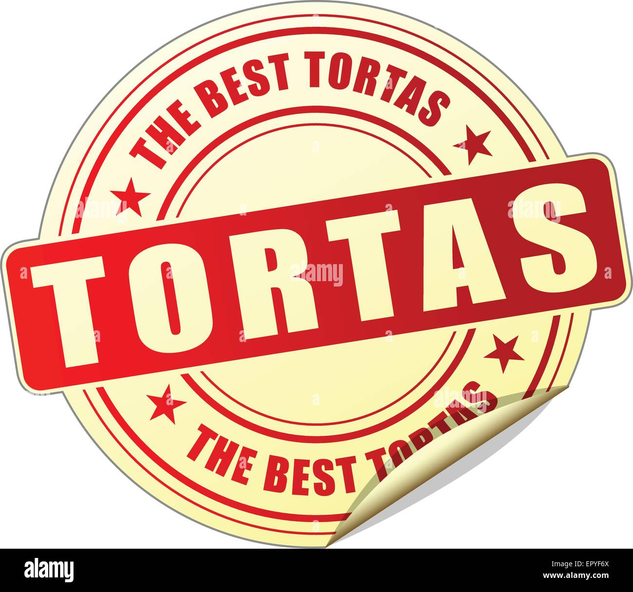 illustration of tortas red sticker on white background - Stock Vector