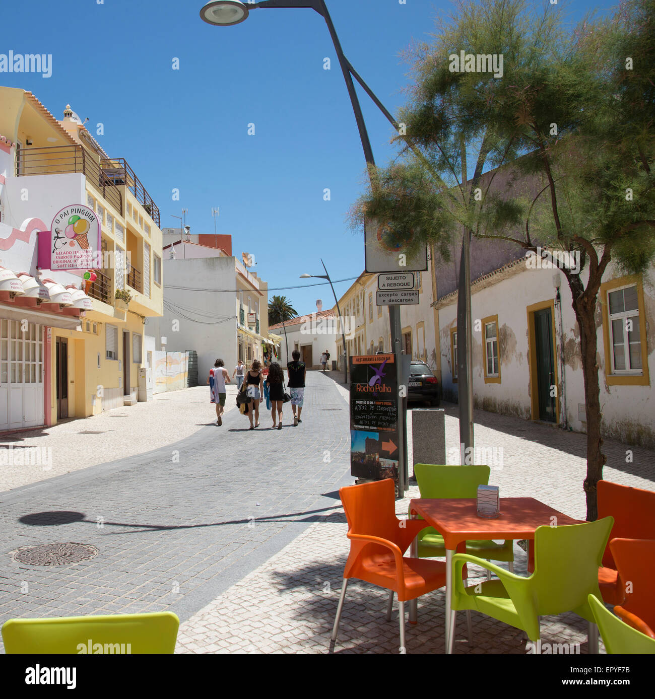 Armacao de Pera a holiday resort on the Algarve Portugal  Street in the old town - Stock Image