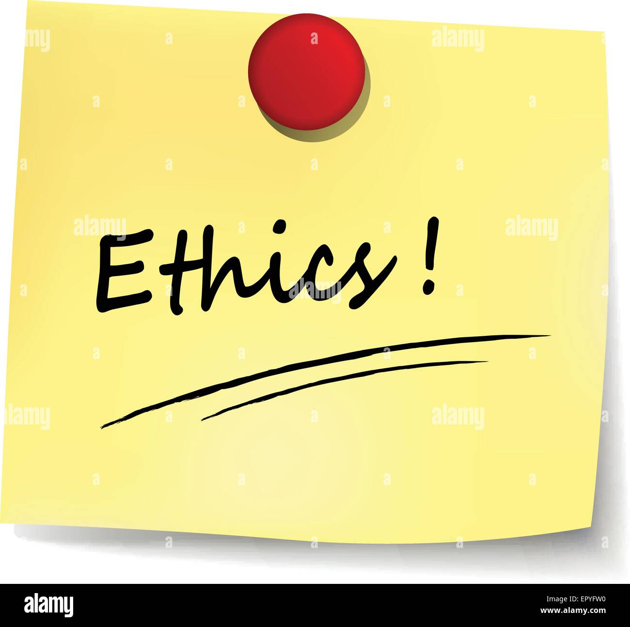 illustration of ethics yellow note concept sign - Stock Image