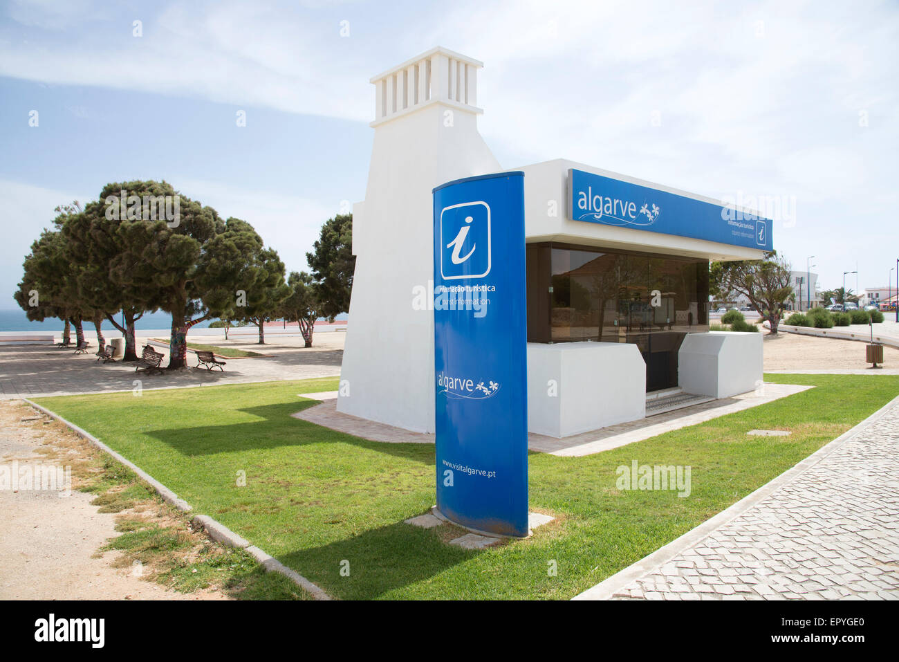 Tourist Office in the Portuguese town of Sagres in the Algarve region of Portugal - Stock Image