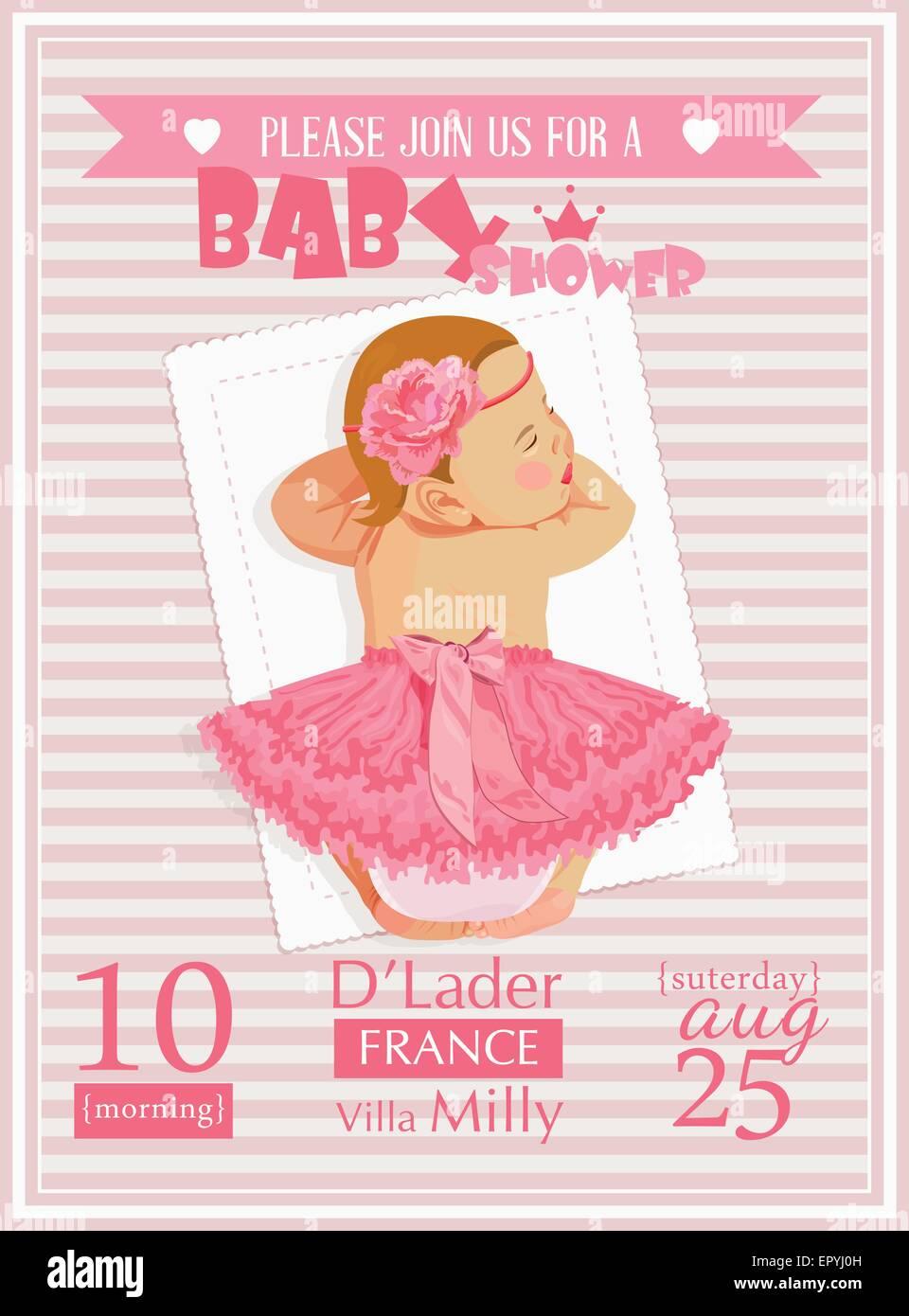 Baby shower girl invitation template vector illustration. Pink, rose ...