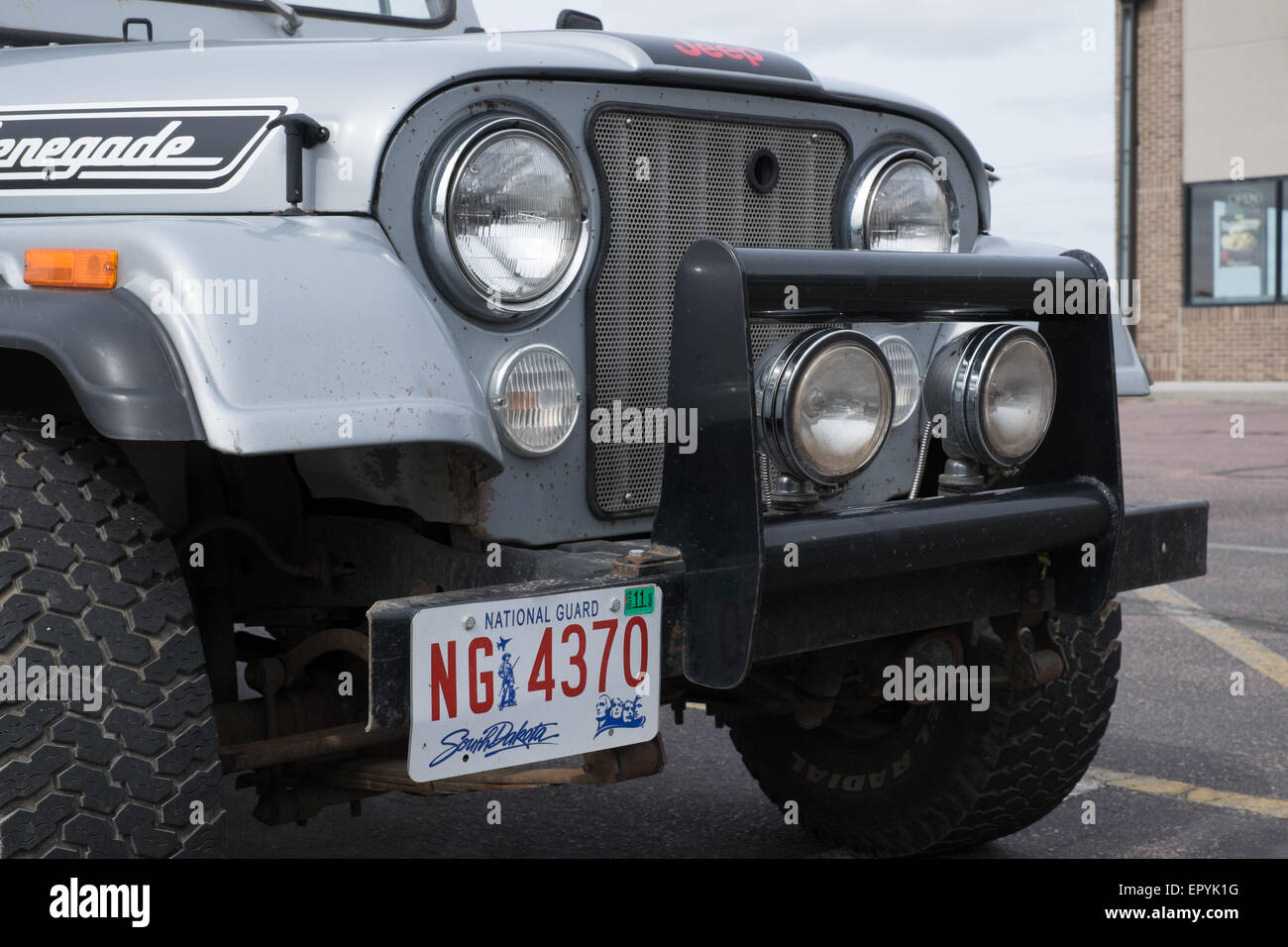 Jeep Renegade Stock Photos Images Alamy Old For Sale With Us National Guard South Dakota Number Plate Image