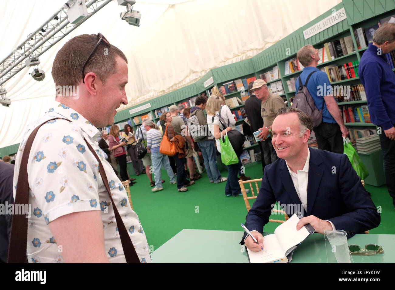 Hay Festival, Powys, Wales - May 2015 - Author Andrew O'Hagan at the Hay Festival signing copies of his latest book Stock Photo