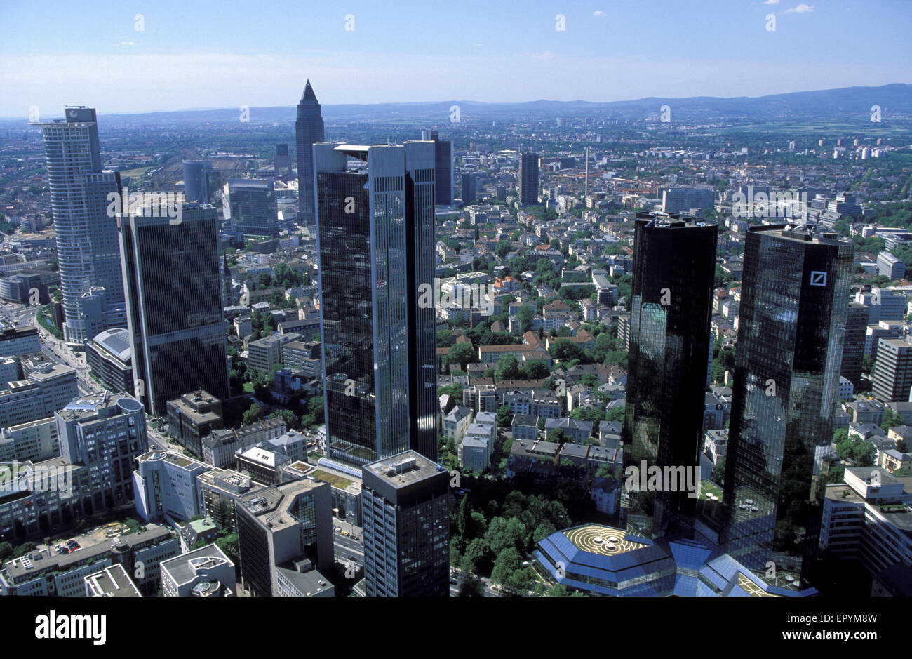 DEU, Germany, Hesse, Frankfurt, view from the Maintower to the Westend, in the background the Messeturm, on the Stock Photo