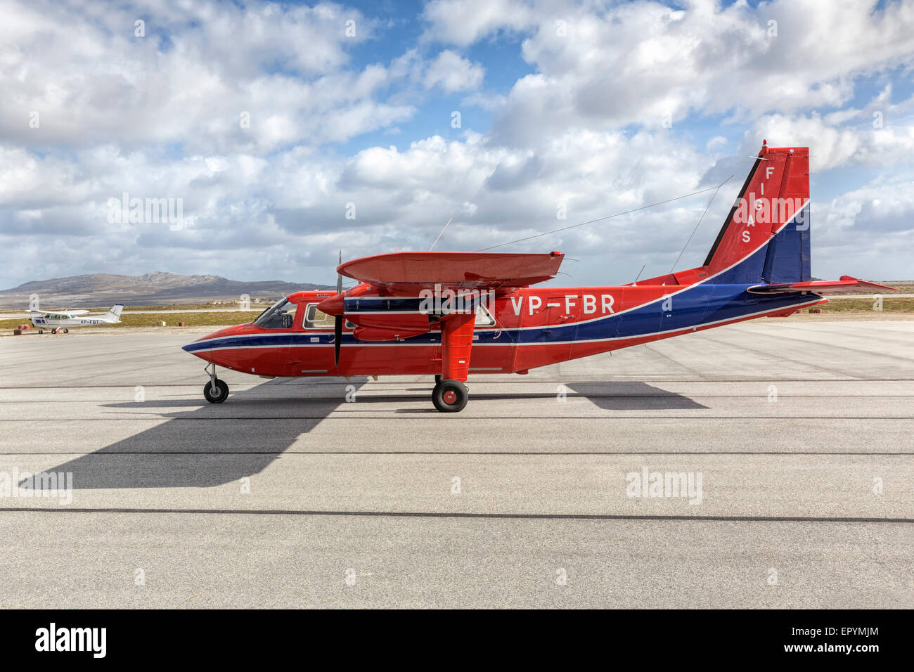 Britten Norman BN2 Islander aircraft of FIGAS at Stanley airport - Stock Image