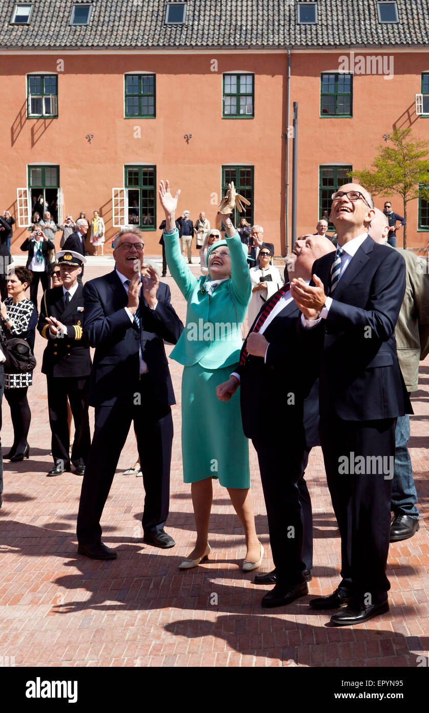 Naestved, Denmark, May 23rd, 2015: H. M. Queen Margrethe lifts her arms in excitement. As part of the celebration - Stock Image