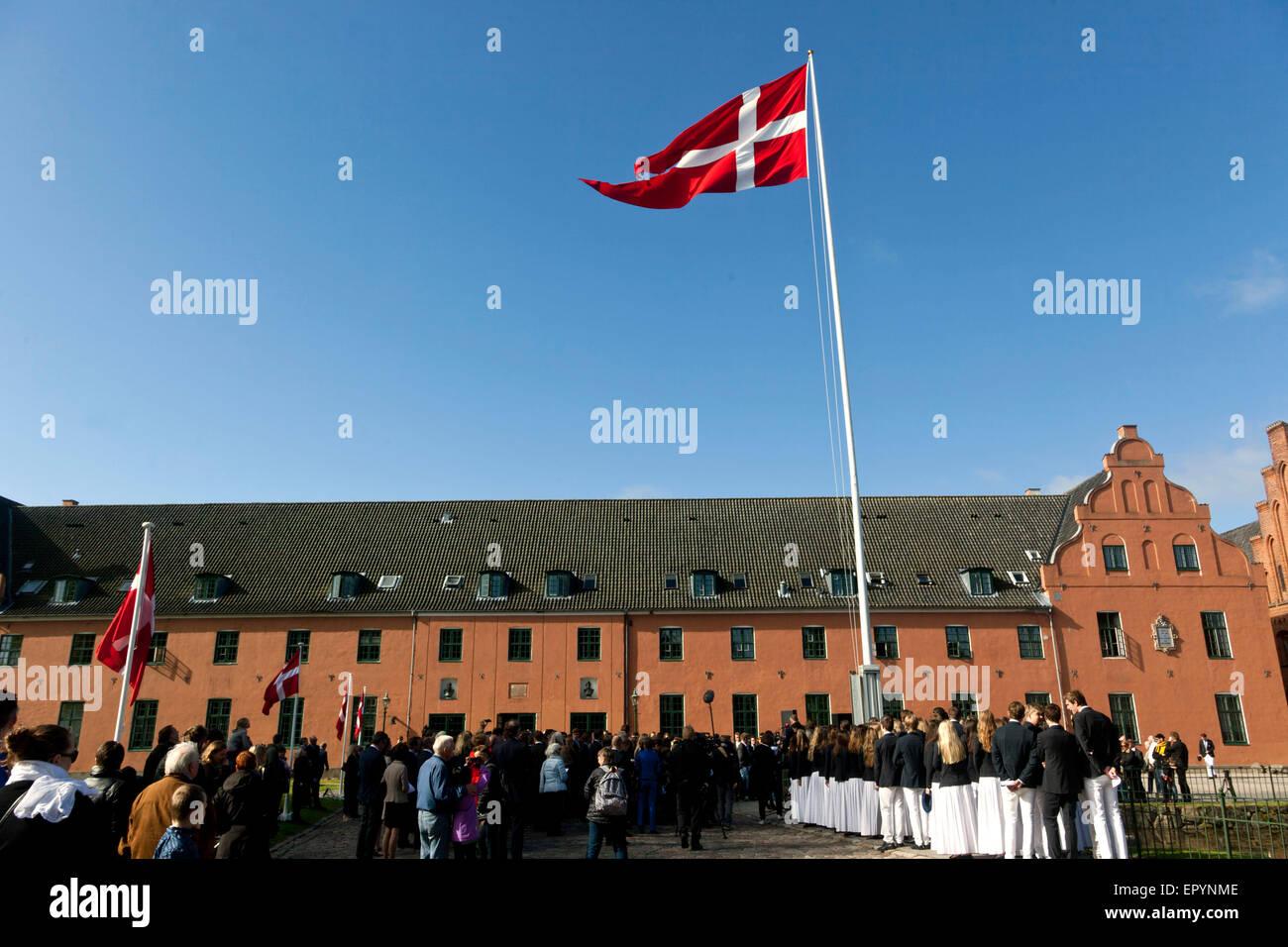 Naestved, Denmark, May 23rd, 2015: The Danish elite school, Herlufsholm, starts the celebration of it's 450th - Stock Image
