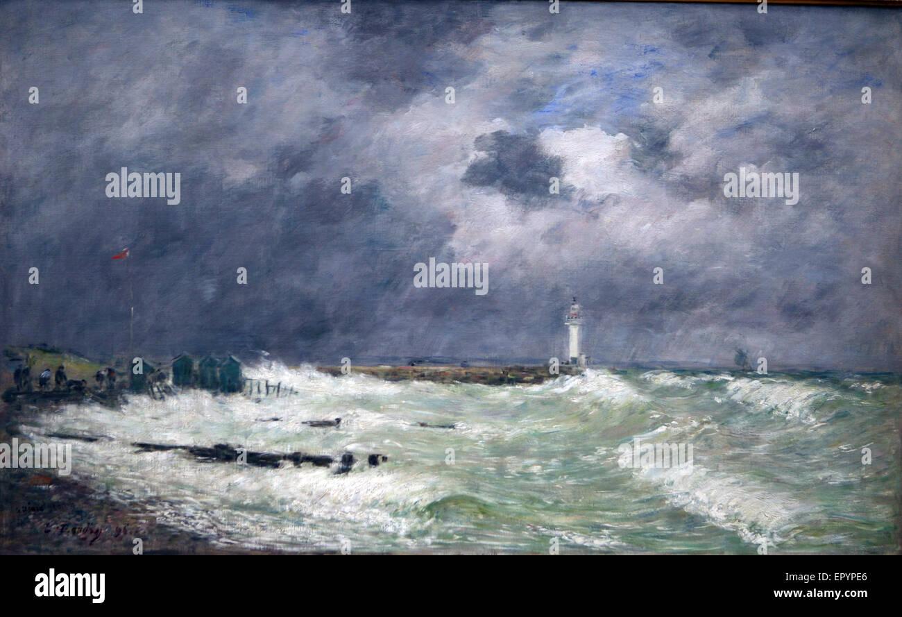 eugene boudin 1896 A gust of wind or frascati Le Havre - Stock Image