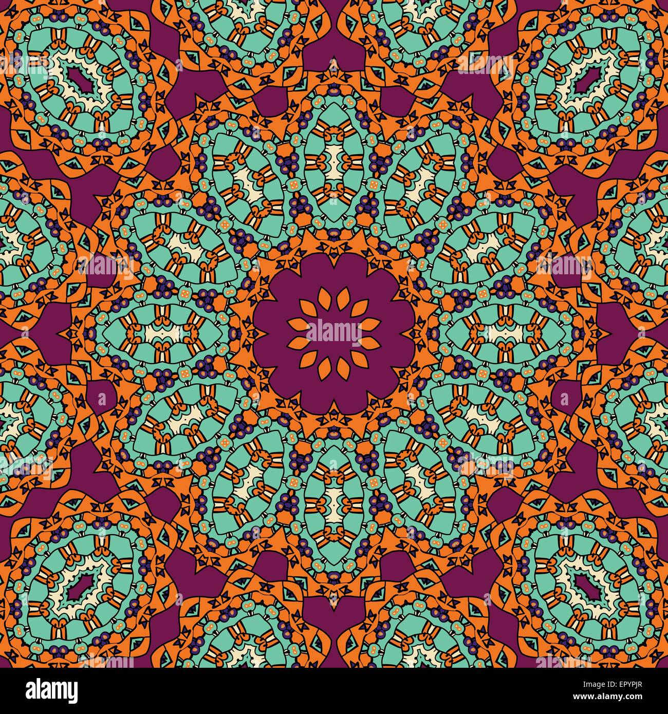 Indian Mandala In Red And Green Color Vintage Tribal Wallpaper