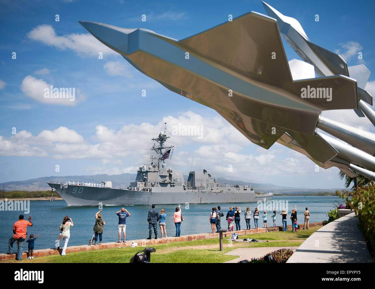 The U.S. Navy guided-missile destroyer USS Chafee departs Joint Base Pearl Harbor-Hickam for deployment May 18, - Stock Image