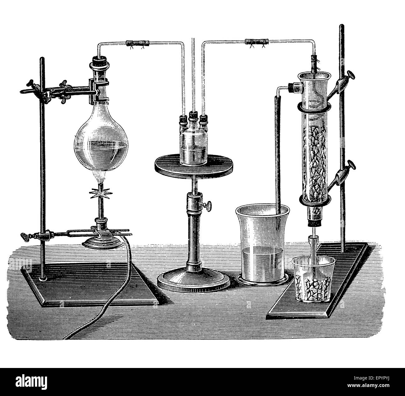 Vintage chemistry lab equipment for sulfur dioxide production. The gas is condensed to liquid form through a mixture - Stock Image