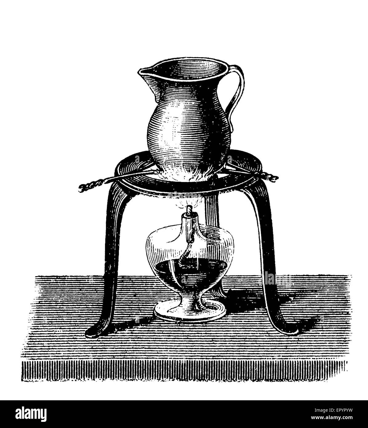 Vintage engraving, the jug, containing ashes or sand and some friction matches, is heated with an alcohol lamp. - Stock Image