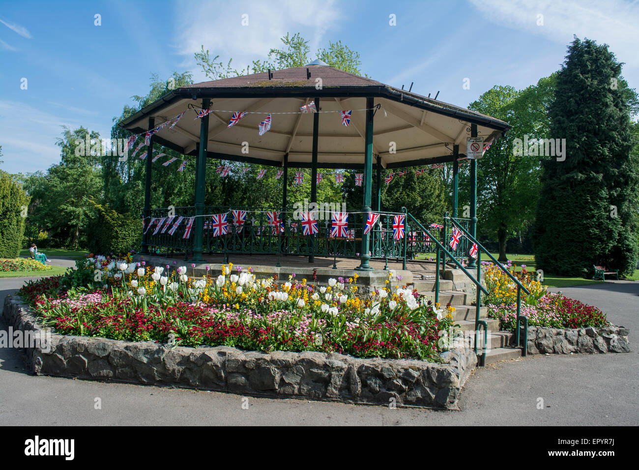 Bandstand, Queens Park Loughborough, Leicestershire, England, UK - Stock Image