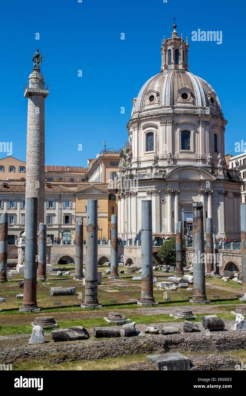 Roman Basilica Ulpia, Trajan's Column and holy Mary church, Rome, Italy - Stock Image