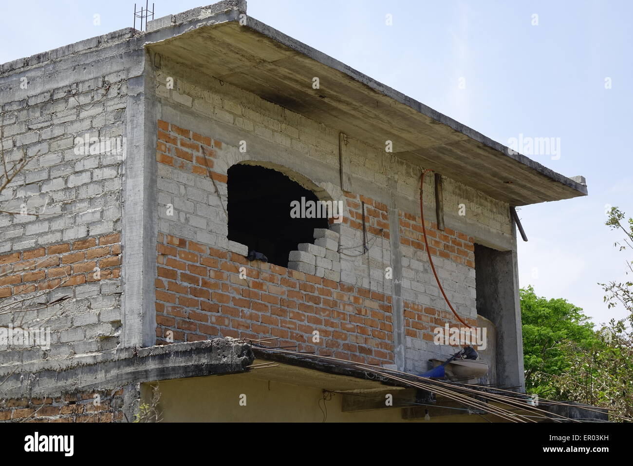 Partially completed upper floor of farm building, vicinity of El Tuito, Mexico - Stock Image