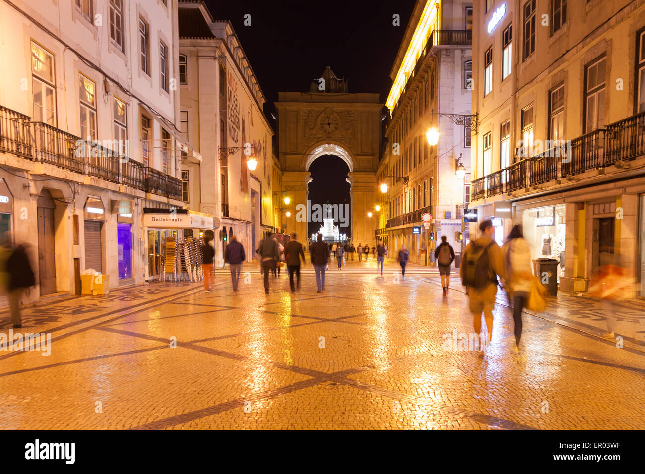 Augusta street by night near commerce square in Lisbon , Portugal Stock Photo
