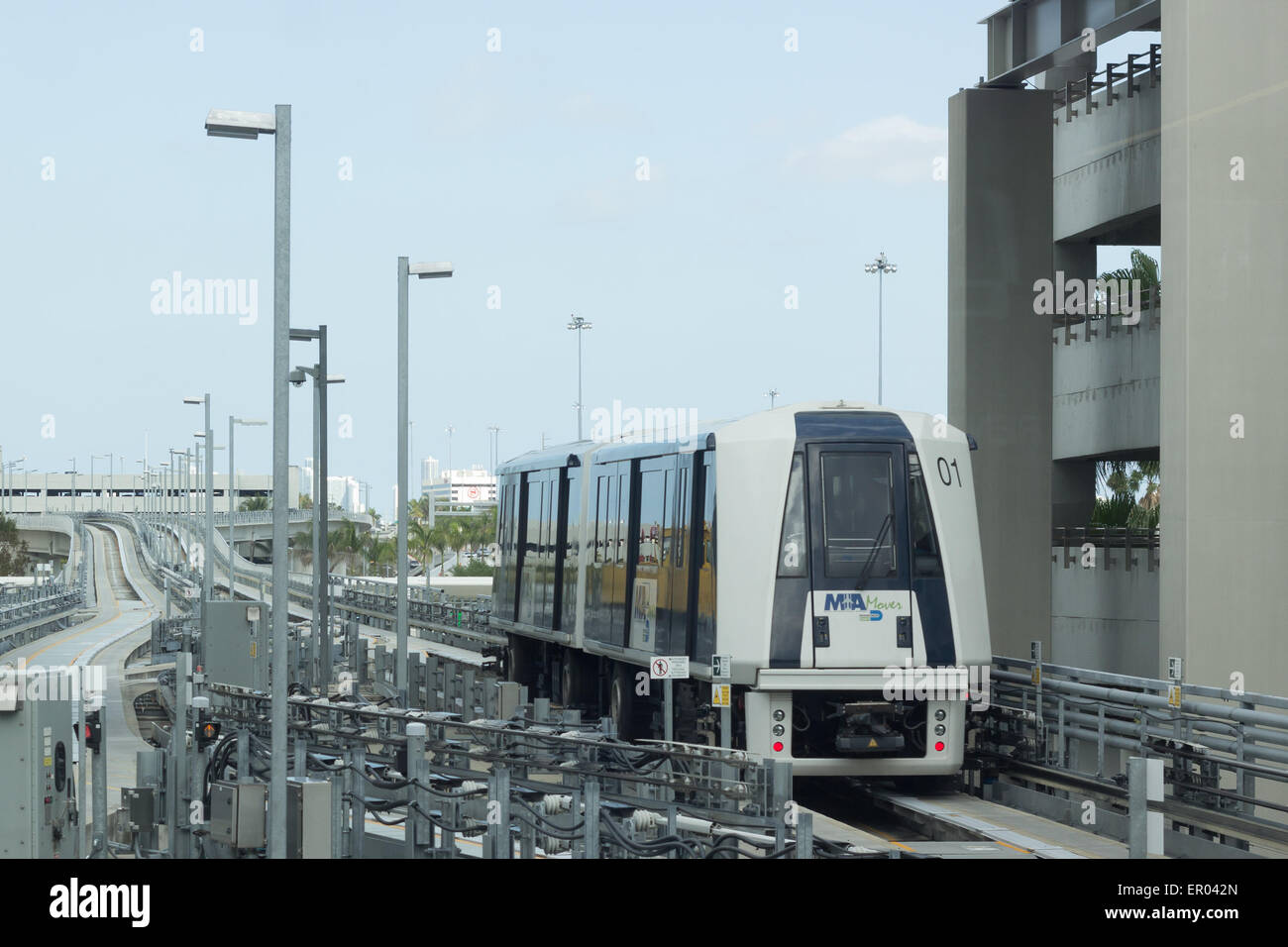 Automated People Mover arrival at Miami airport in Florida, USA. - Stock Image