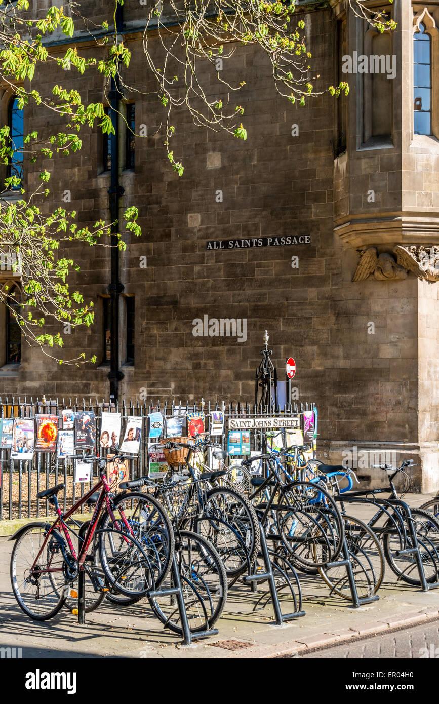 Bicycles parked on Saint Johns Street, Cambridge, UK - Stock Image