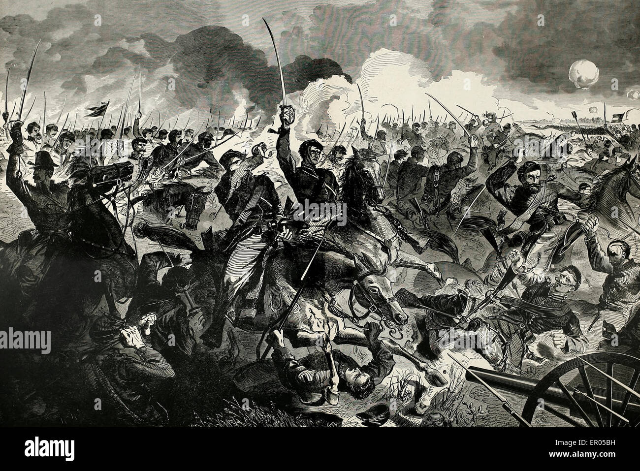 A Cavalry charge during the USA Civil War - Stock Image
