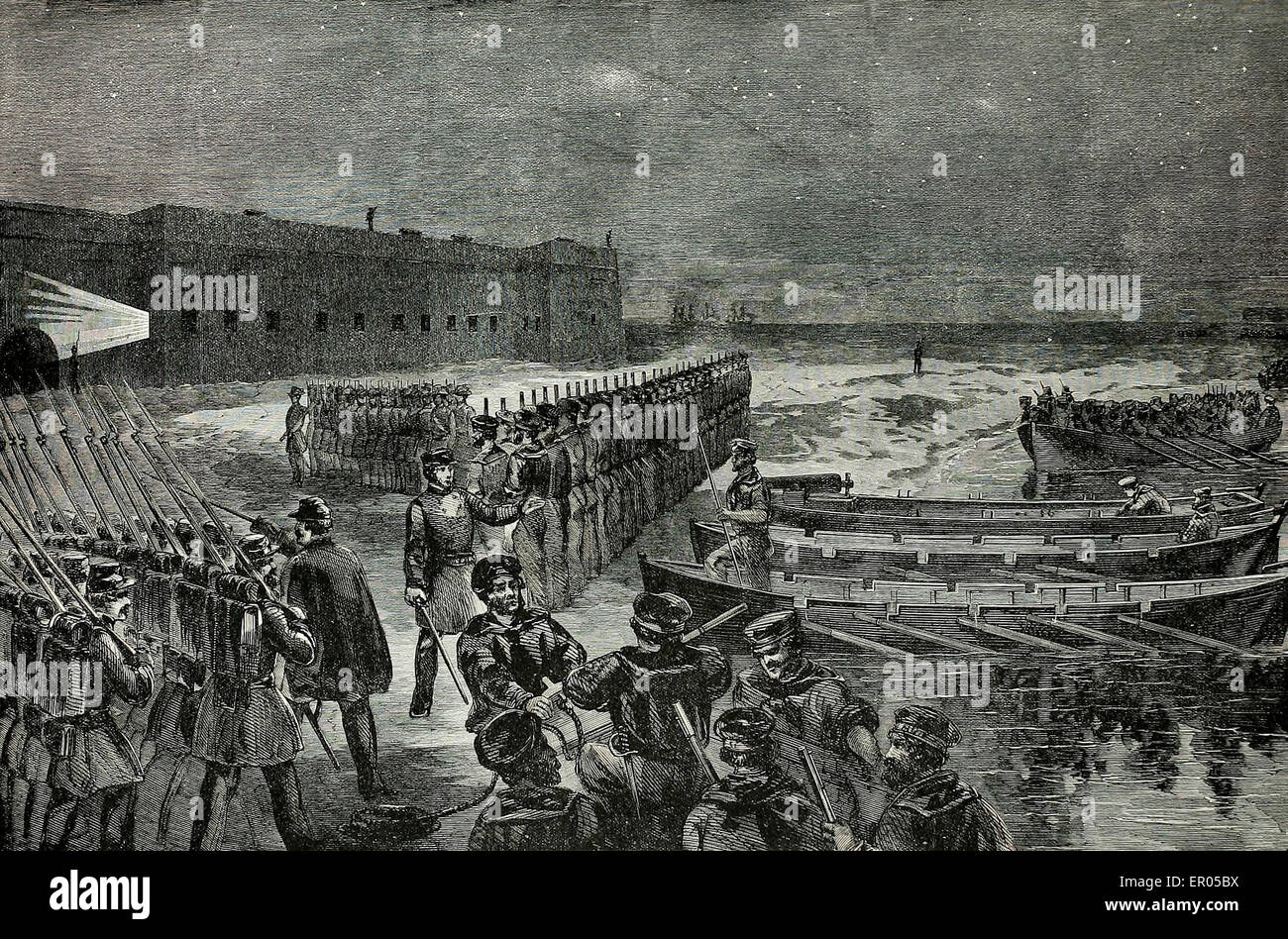 Reinforcement of Fort Pickens by Company A First Artillery on Saturday Morning April 13, 1861 - Stock Image