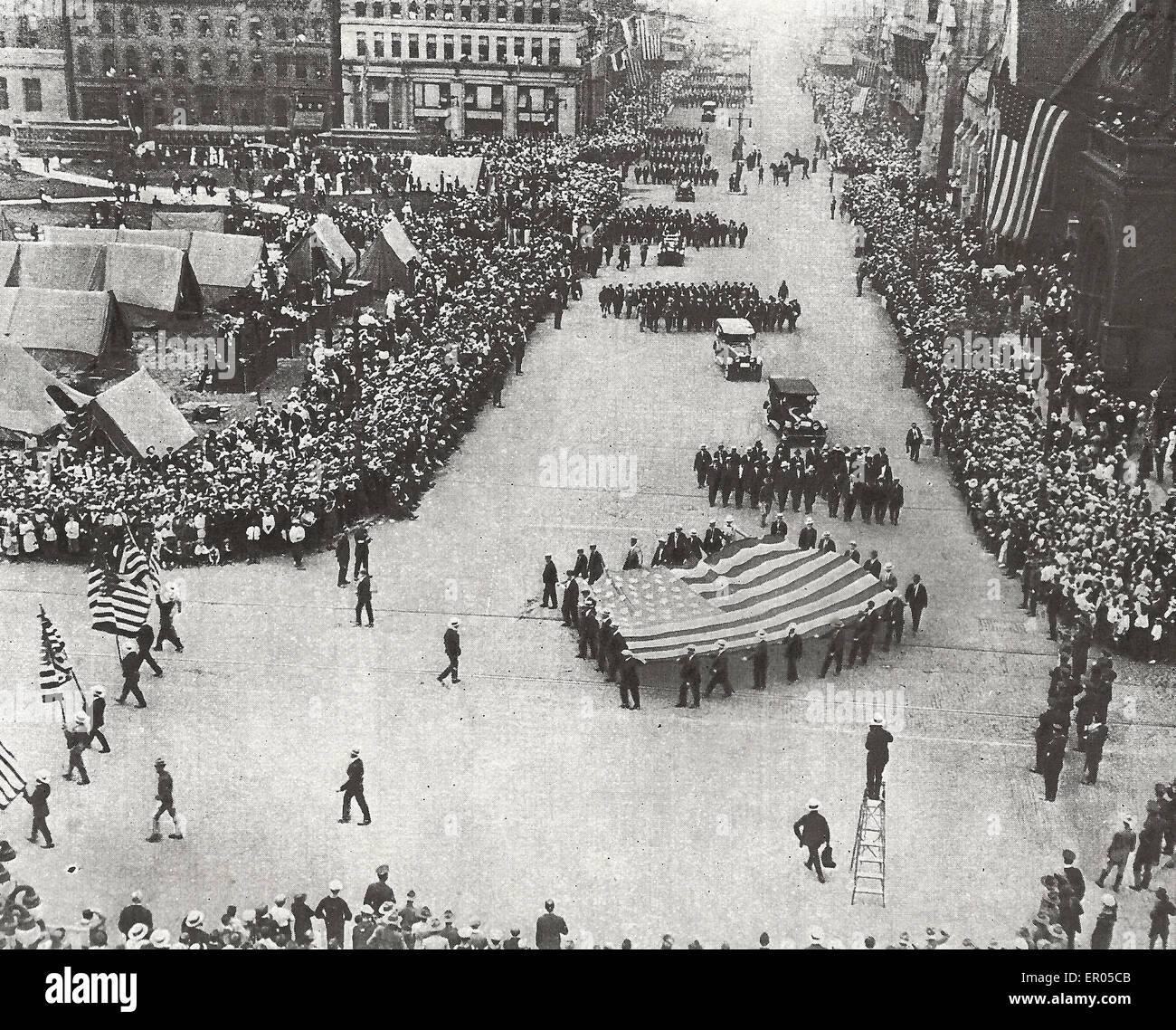 Philadelphia Draft Army Parade - Twenty Five thousand men were drafted in Philadelphia.  Before leaving for the - Stock Image