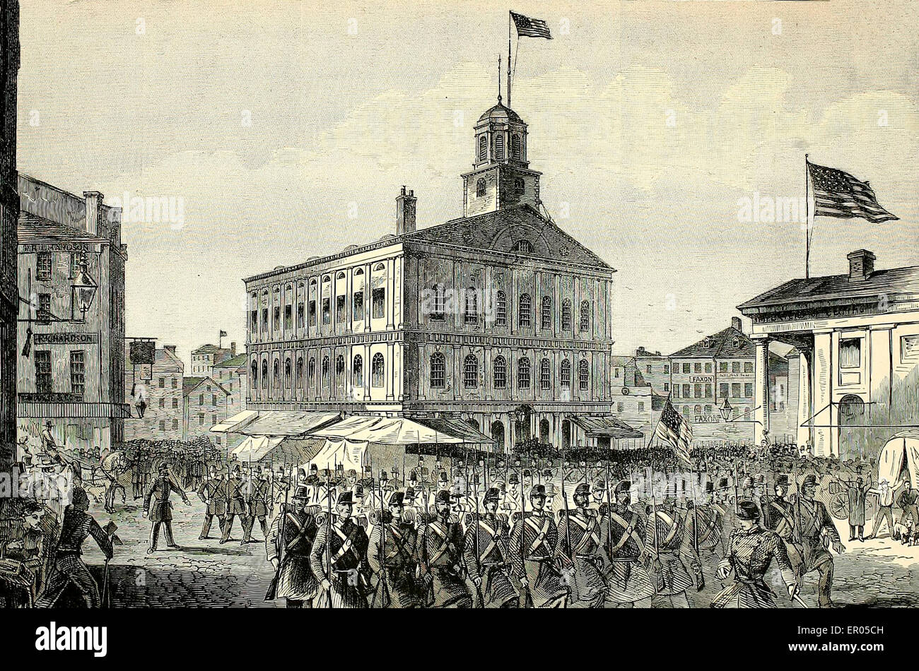 A new Regiment of Massachusetts Volunteers passing Faneuil Hall on their way to the War - USA Civil War, circa 1861 - Stock Image