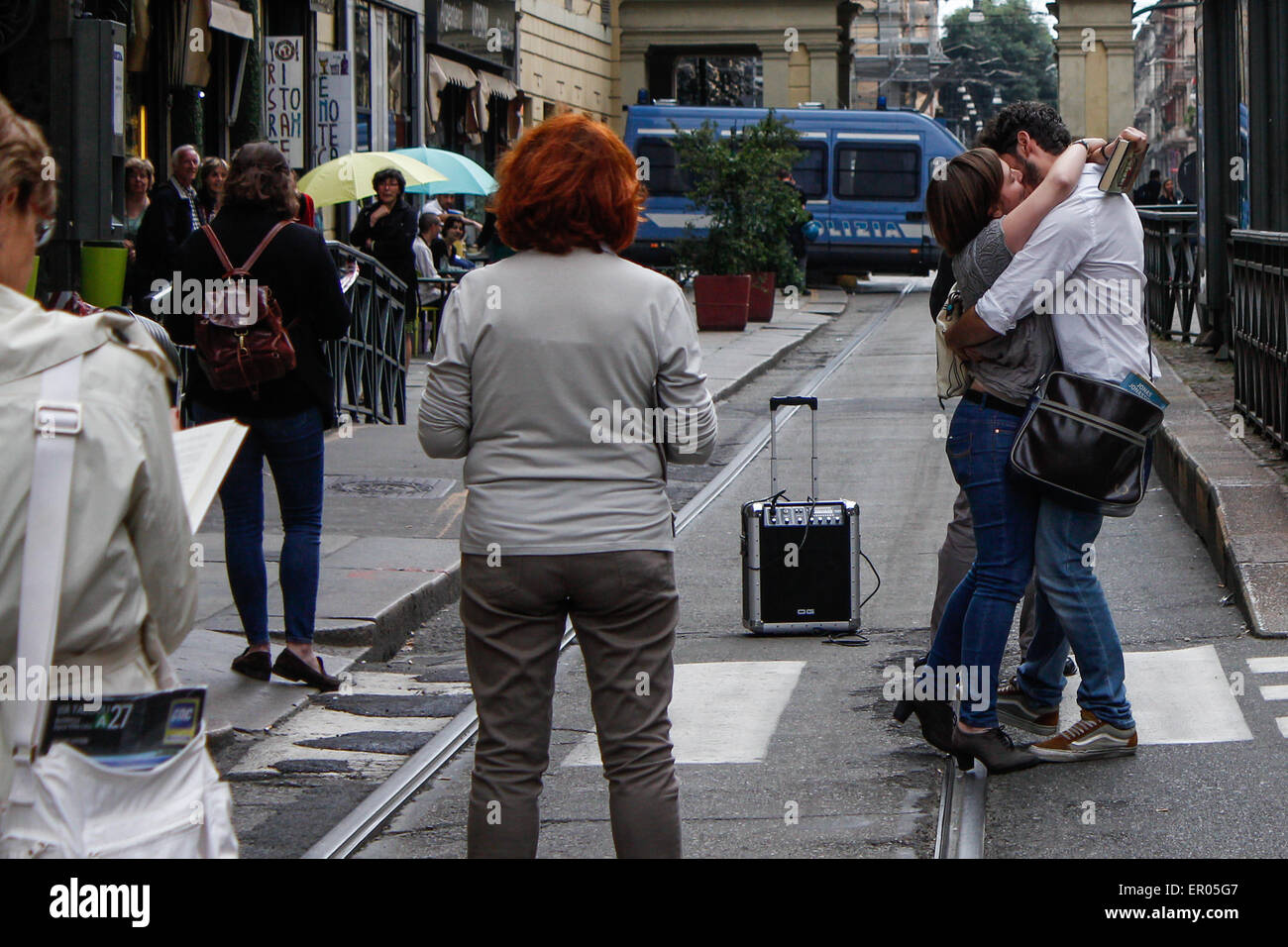 Turin, Italy. 23rd May, 2015. A heterosexual couple kissing proving that love is the same for everyone and it is - Stock Image