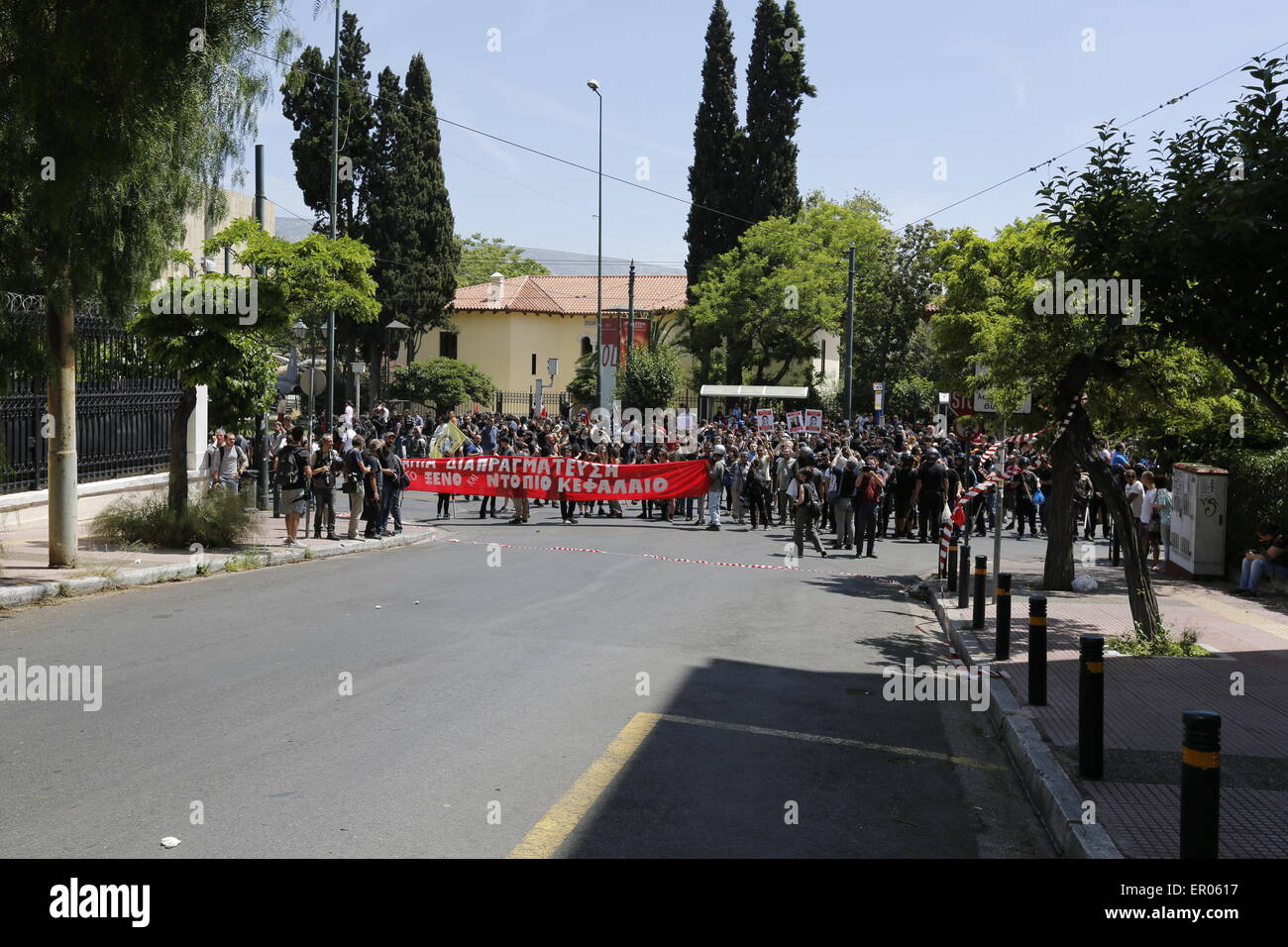 Athens, Greece. 23rd May, 2015. The protesters have assembled on the foot of the street leading to the German Embassy, - Stock Image