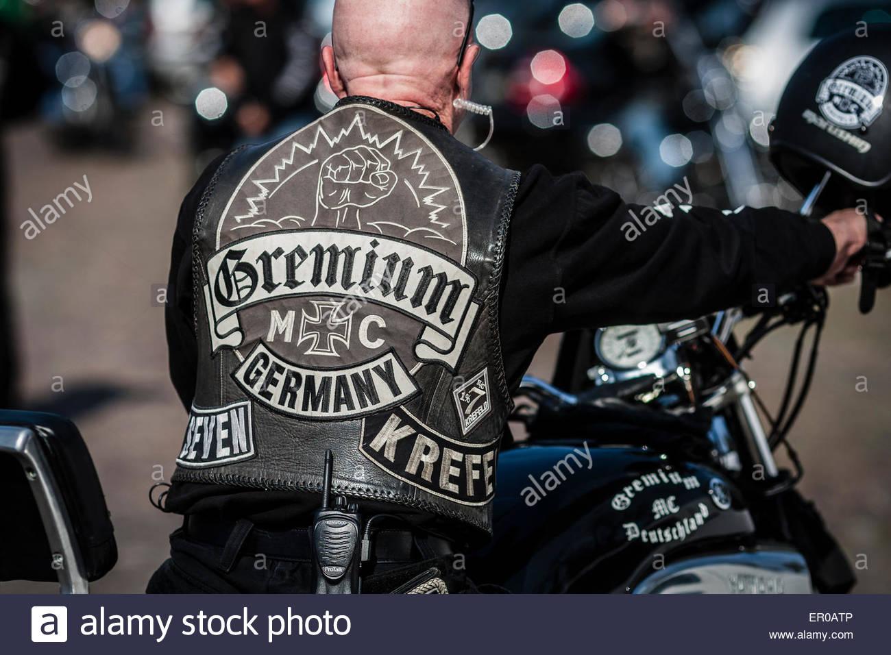 biker from Gremium MC, Krefeld Germany - Stock Image