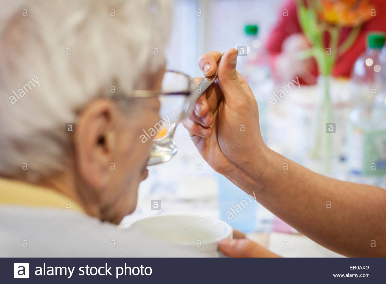nurse feeding an old woman in a retirement home - Stock Image