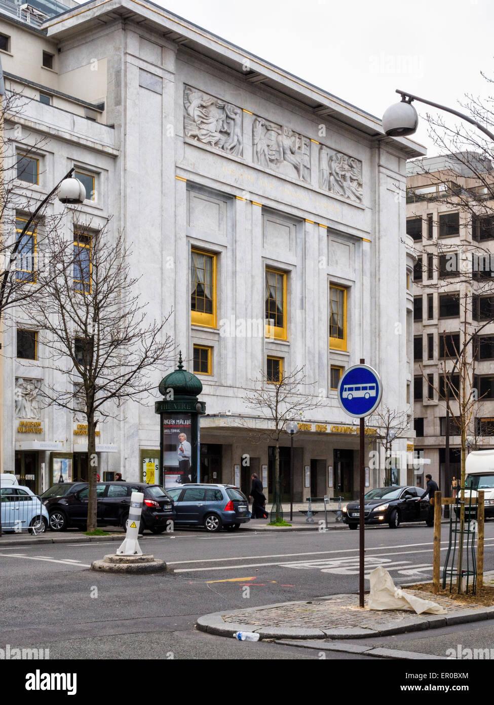 Theatre des Champs-Elysees exterior and entrance, Avenue Montaigne, Paris - Stock Image