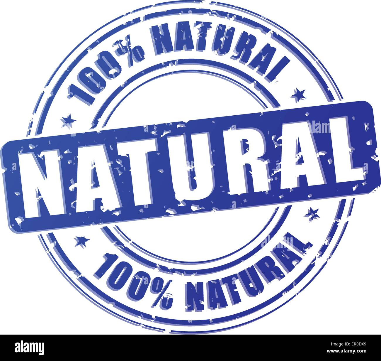 Illustration of natural blue stamp on white background Stock Vector