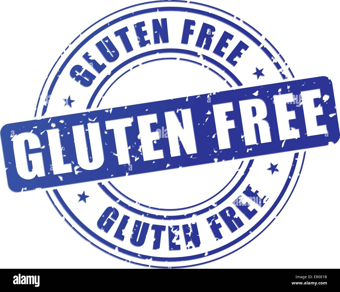 illustration of blue gluten free stamp on white background Stock