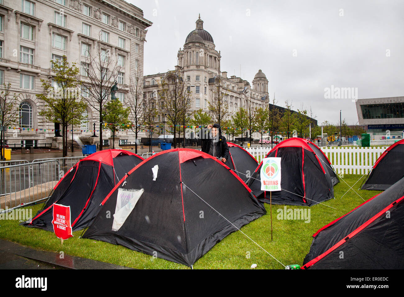 Liverpool, Merseyside, UK 24th May, 2015. The Love Activists for the homeless, who occupied the Bank of England - Stock Image