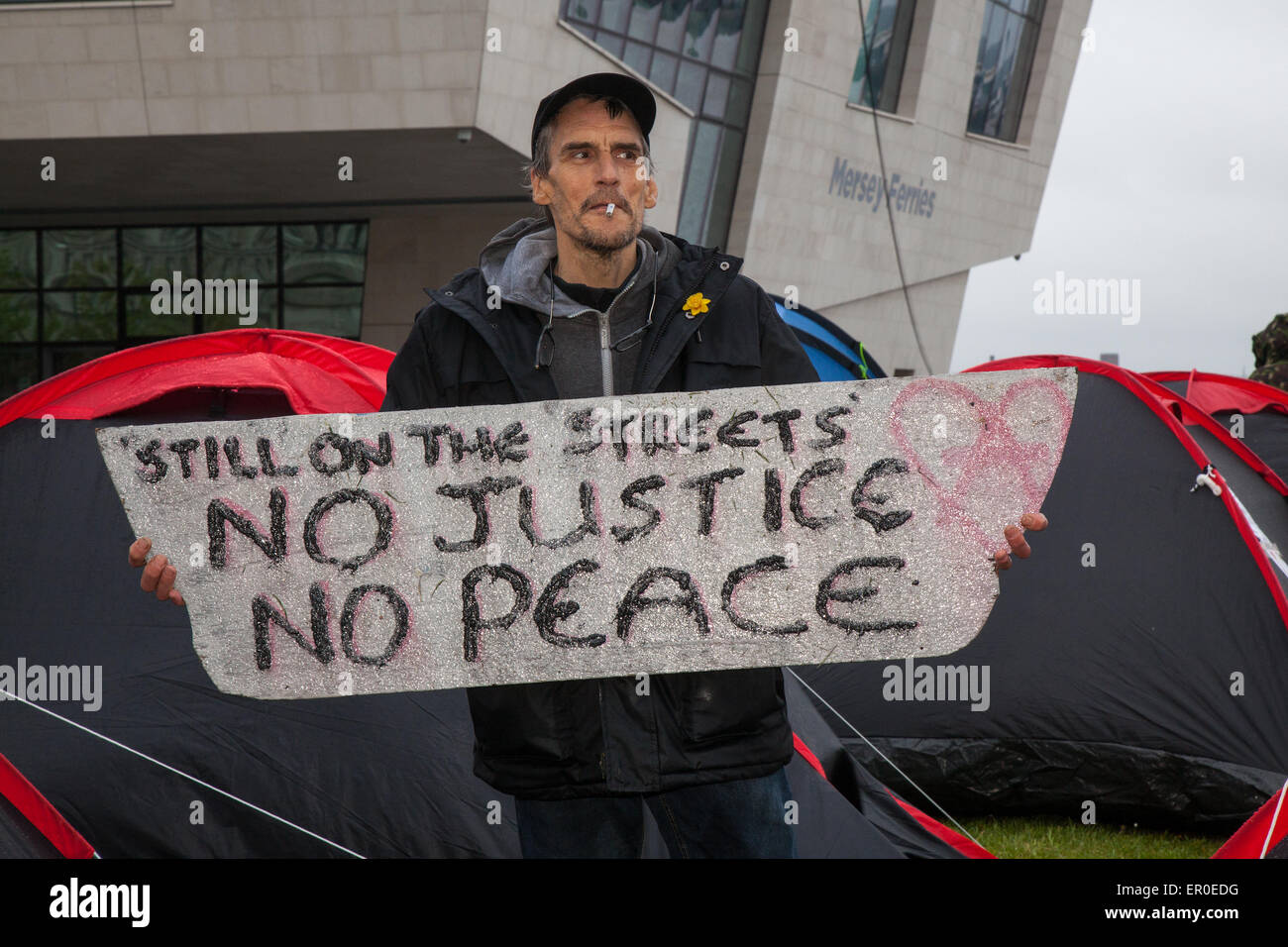 Homeless people in Liverpool, Merseyside, UK 24th May, 2015. Mr Christopher Gandy _ The Love Activists for the homeless, - Stock Image