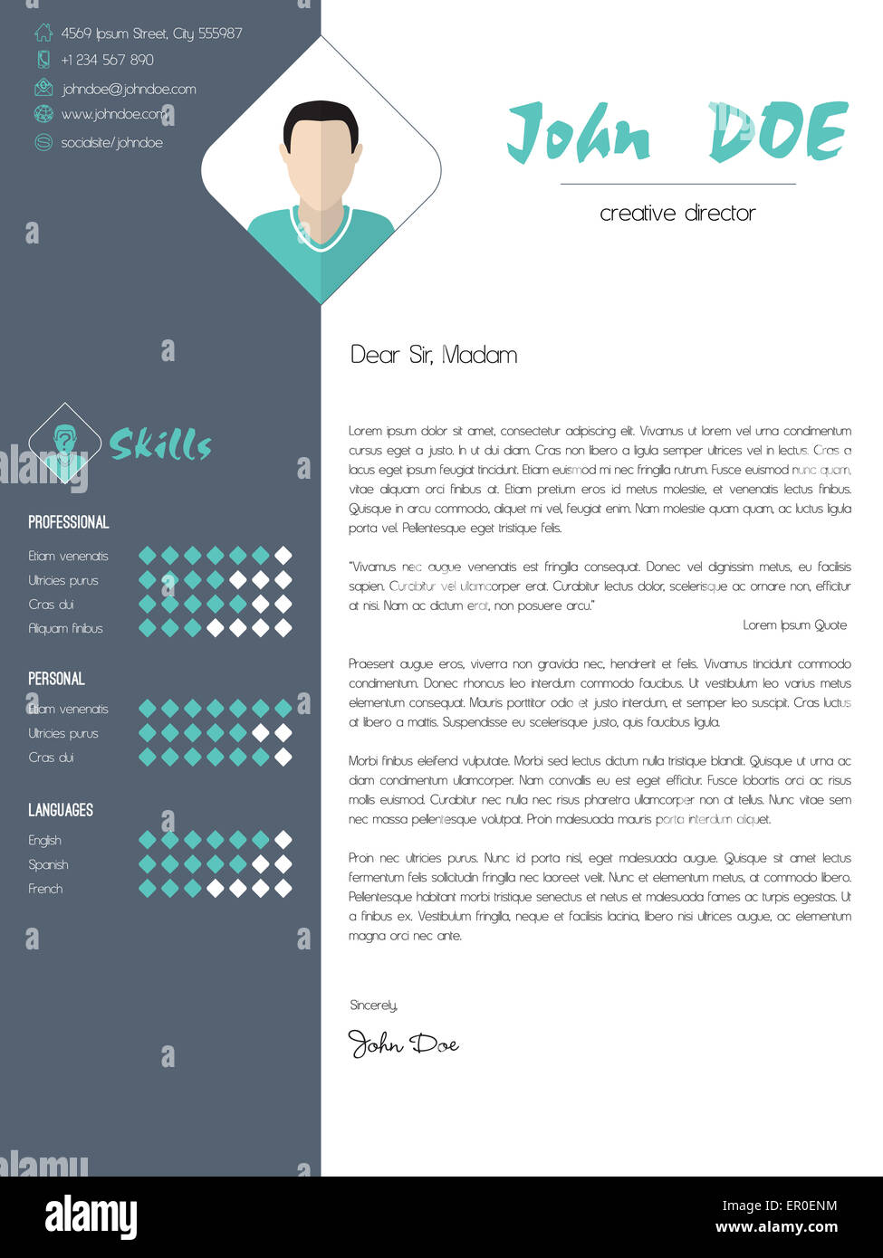 Modern Cover Letter Design With Elements