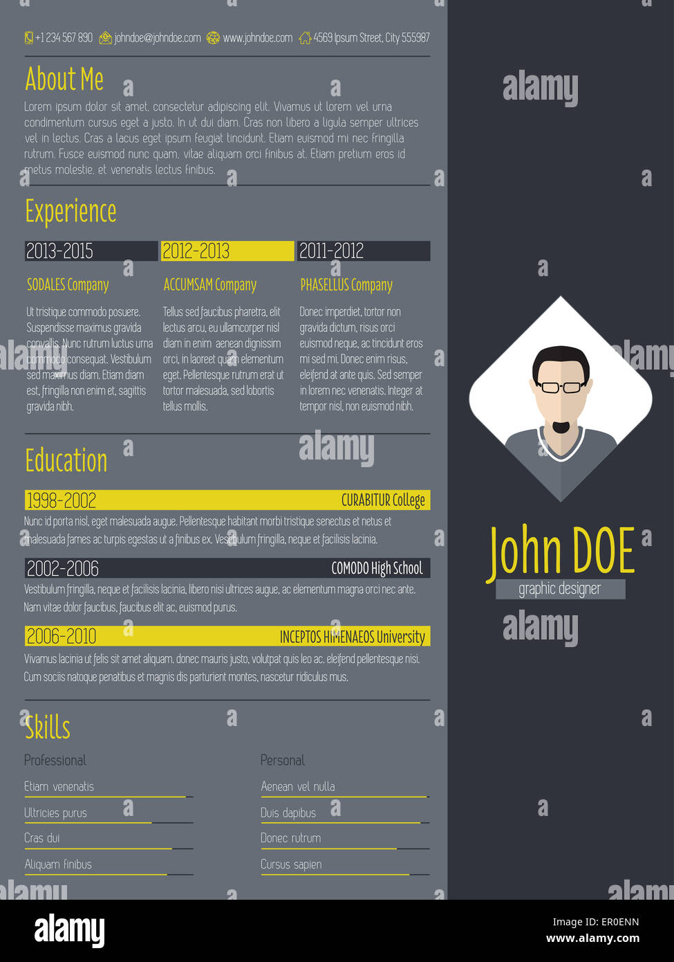 Modern Cv Curriculum Vitae Resume Design With Dark Background