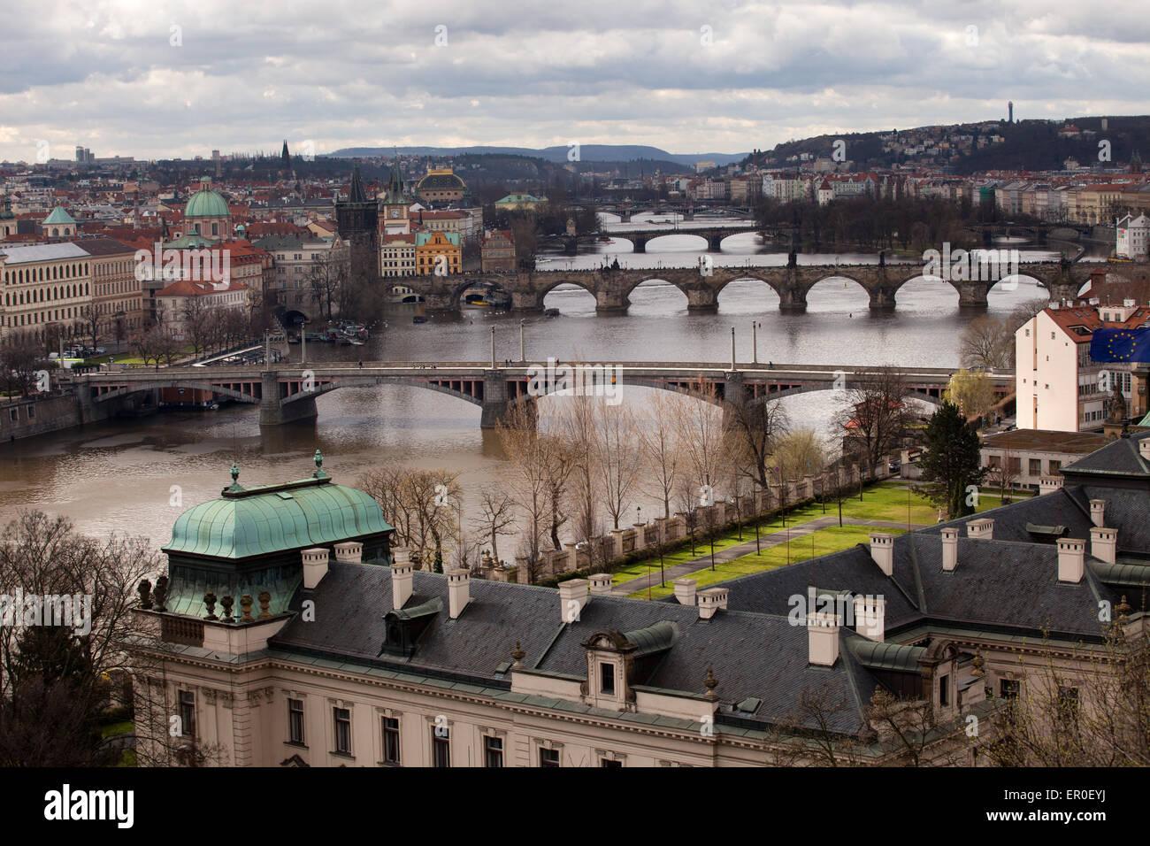 Letna Park: Prague Bridges - Stock Image